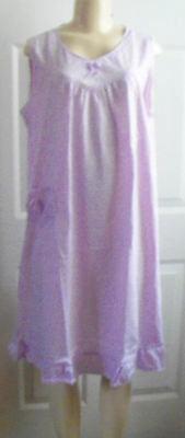 Large Lilac Cotton Poly Floral Chemise Nightgown  Pocket L