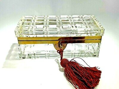 Antique Large French Cut Large Square Crystal Bronze Ormolu Casket  Box w/Lock