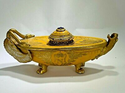 Antique  French Porcelain and Gilt Bronze Sevres Style Napoleon N Inkwell