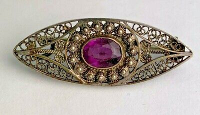 Antique Sterling Silver Victorian Brooch With Purple Glass Stone Beaded