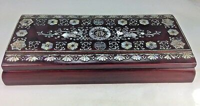 Elegant Art Deco Chinese Lacquer Smoking Box *mother Of Pearl Inlay* Rabbits