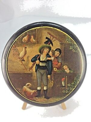 Antique 19Th Century Painted Scene French  Papier Mache Snuff Box