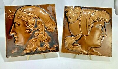 Antique Two Minton Hollins & Co Victorian Female Silhouettes Carmel Glazed Tiles