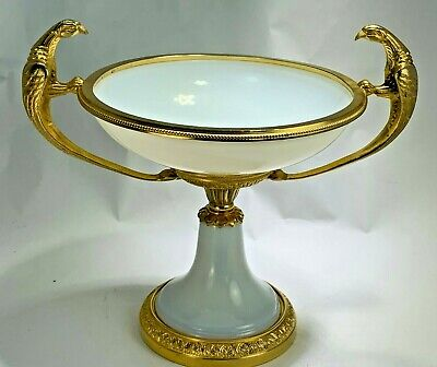 Antique Empire French Gold Gilt Mount White Opaline Glass Tazza Parrot Handles