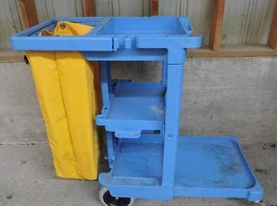 Rubbermaid Janitor Maid Housekeeping Cleaning Cart hotel 3 shelf with bag blue