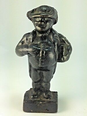 Antique Victorian Black Cast Iron Solid Heavy Man w/ Hat Door Stop / Paperweight