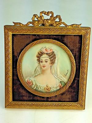 Antique Miniature Hand Painted Portrait Lady of Spain   Signed Louil