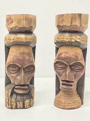 "Hand Carved Wooden Jamaica Man Woman Statue Heads Jamaica 9"" Tall Heavy Wood"