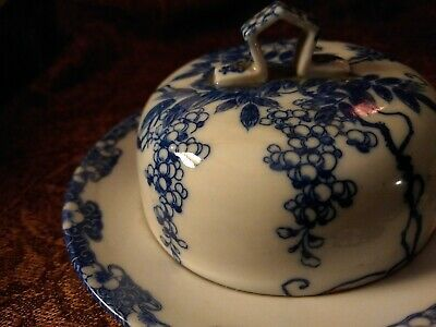 Antique Porcelain Domed BUTTER DISH Blue and White, 3-Pieces, Japan SOAP DISH