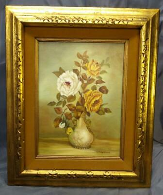 Vintage Original Still Life White Yellow Roses Vase Flowers Floral Oil Painting