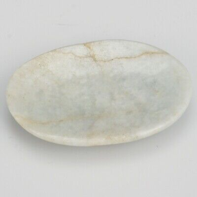 Antique Chinese oval pale green jade snuff dish brown natural fissure 19th C