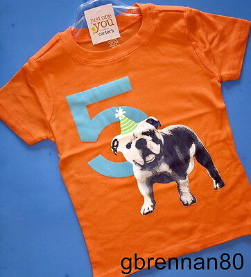 NEW! 5th Birthday DOG Baby Boys Shirt 5T Orange 5 Years Gift! SS Carters Party