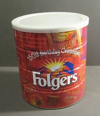 Folgers 150th Birthday Celebration Coffee Can - Large Can * Unopened * Inside???