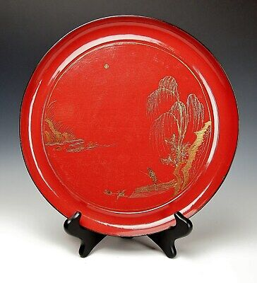 ANTIQUE CHINESE RED LACQUER DISH 1800s Exquisite Qing Dynasty Lijiang Fisherman