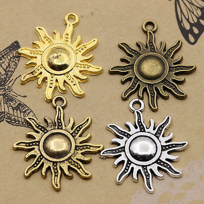 2Pcs Retro Tibetan Silver Round Turquoise Flower Charms Pendants 30x35mm