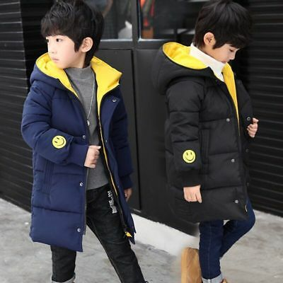Kids Boys Hooded Warm Quilted Puffer Coat Jacket School Thick Parka Coats Winter