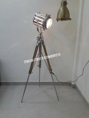 Vintage Industrial Collectible Spot Light Search Light Tripod Stand Floor Lamp