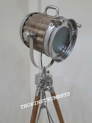 Vintage Hollywood Search Light Studio Chrome Floor Lamp With Brown Tripod Stand
