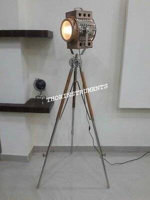 Vintage Designer Industrial Nautical Search Light Tripod Stand Floor Lamp