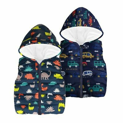 Autumn Winter Kids Waistcoat Boys Vest Cartoon Outerwear Hooded Jacket Warm Coat