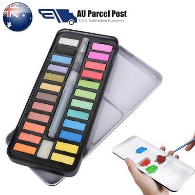 24 Watercolour Paint Set With Brush Painting Water Colour Artist Art  Kit