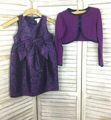 Janie & Jack Purple Damask Formal Dress & Cropped Sweater Set Winter Holiday