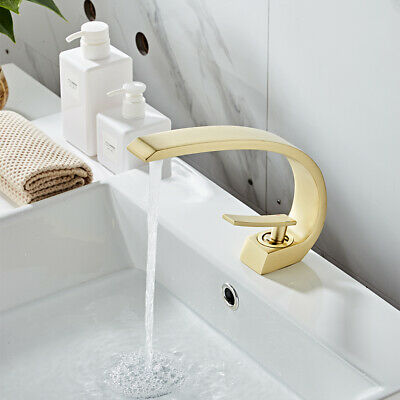 Brushed Gold Bathroom Faucet Centerset One Hole/Handle Cold/Hot Mixer Tap