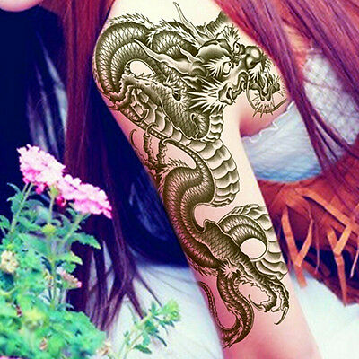 3D Black Dragon Removable Waterproof Temporary Tattoo Arm Legs Body Art Stick~GN