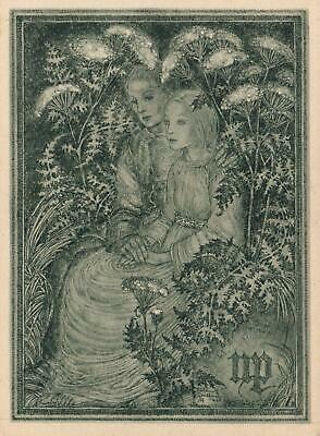 Sulamith Wulfing Beautiful Lovers Surrounded by Flowers & Ferns POSTCARD - B&W