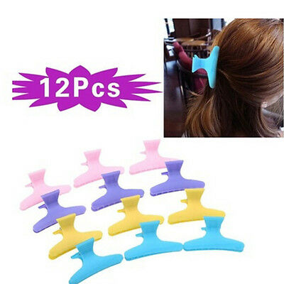 12pcs Plastic Colorful Hairdressing Tool Hair Claw Clip Clamps Women Hair Car~GN