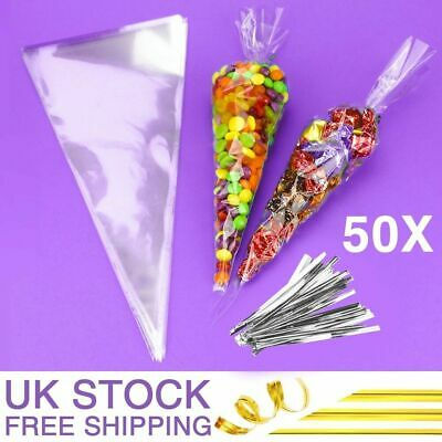 Clear Cellophane Cone Bags Twist Ties Sweet Candy Gifts Large Empty Cello UK