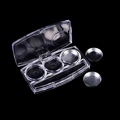 Empty 3 Round Grids Eyeshadow Lipstick Box Cosmetic Packing Palette J~GN