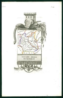 1823 Original Antique Map OXFORDSHIRE BERKSHIRE BUCKINGHAMSHIRE by Perrot (26)