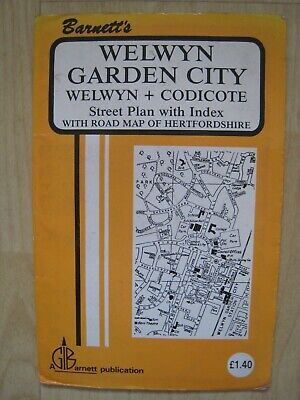 Barnett's Vintage Map Welwyn Garden City Welwyn Codicote Street Plan with index