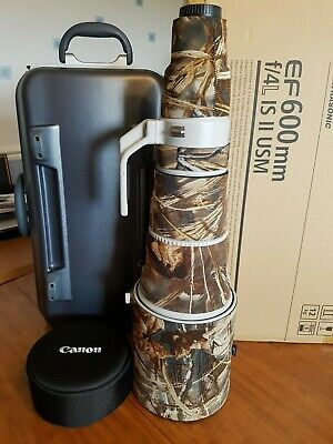 Canon EF 600mm F4L IS USM II  Super Telephoto Lens with Realtree Max4 LensCoat