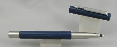 Parker Vector Navy Blue & Chrome Rollerball Pen - 1987 - Made In USA
