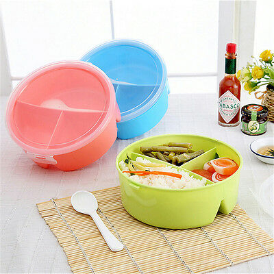 Round Portable Microwave Lunch Box Picnic Bento Food Container Storage+Spoon~GN
