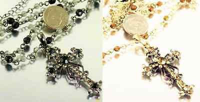 Large Rhinestone & Bead Cross Pendant Necklace- Choose Pewter or Antique Gold