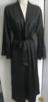 New Victoria's Secret Ladies Ankle Length Black Belted Satin Kimono Size  M/L