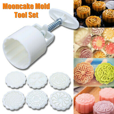 6 Flower Stamps Round Moon Cake Pastry Mold Hand Mooncake Mould Baking Tool Set