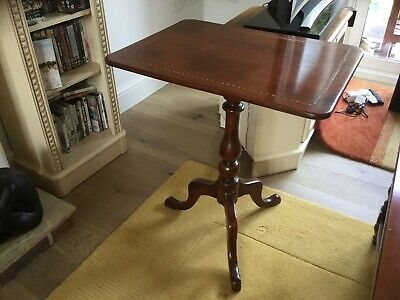 Antique Mahogany Occasional Table, Pedestal With Tilt Mechanism And Inlaid Top