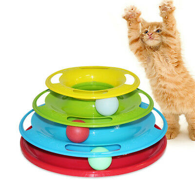 Pet Cat Crazy Ball Disk Interactive Toys Amusement Plate Trilaminar Funny Toy~GN