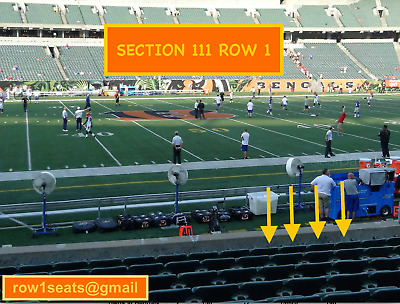 4 Front row Cleveland Browns at Cincinnati Bengals tickets Section 111 row 1