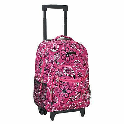 Backpack With Wheels For Girls Rolling School Travel Bag Kids 17 Inch Bandana