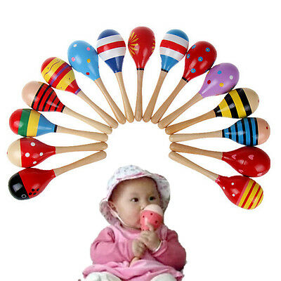 Popular Baby Kids Sound Music Toddler Rattle Musical Wooden Colorful Toys ~GN