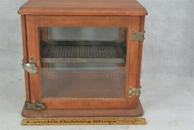 "barber cabinet table top wood glass 12"" antique WWI depression original 1900"