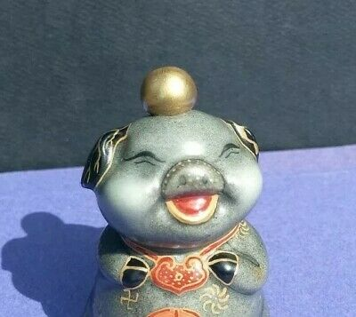 Collectable And Rare Chinese Hand Painted Lucky Pig Porcelain Snuff Bottle