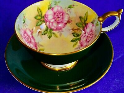 Aynsley Exquisite Deep Green Pink Roses Fine Bone China Cup & Saucer