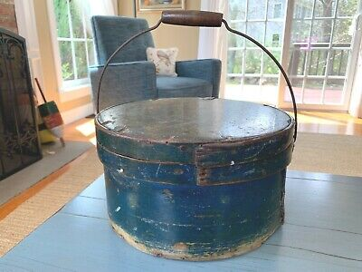 Early Large Pantry Box Bail Handle & Lid Old Mustard, Blue & Green Paint Antique