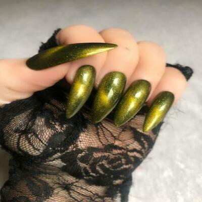 Hand Painted Stiletto Extra Long False Nails Green Yellow Gel Press On Nails